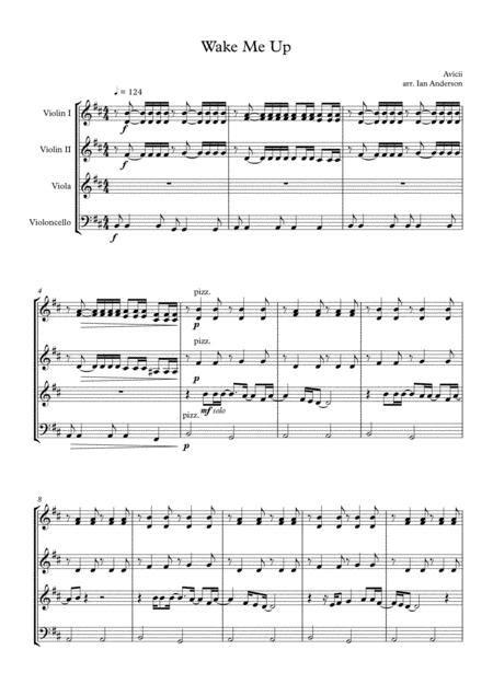 wake quartet string sheet music plus avicii