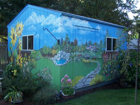 garden murals for outdoors outdoor murals dress up sheds garages and blank walls plus seven tips or creating your own