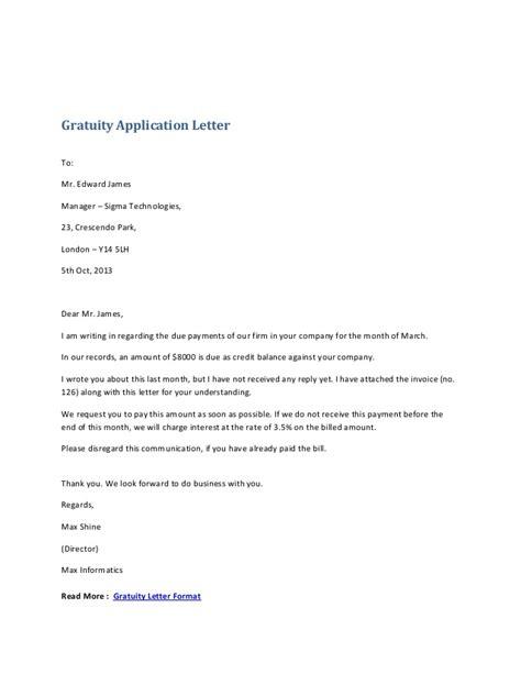 Gratuity Application Letter