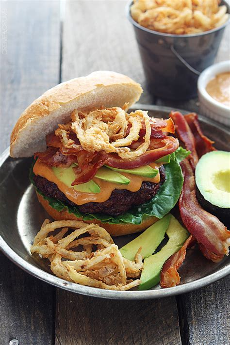 Western Bacon Burgers With Bbq Mayo And Crispy Onion