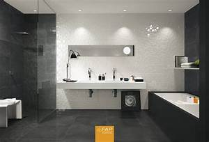 stunning photo salle de bain moderne blanche ideas With faience salle de bain noir