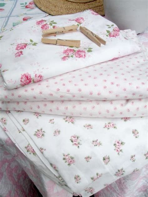 summer pink roses cotton sheets shabby chic vintage
