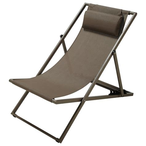 metal steamer chair folding deckchair in taupe l 104cm