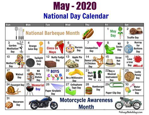 National Food Day Calendar 2018 Printable