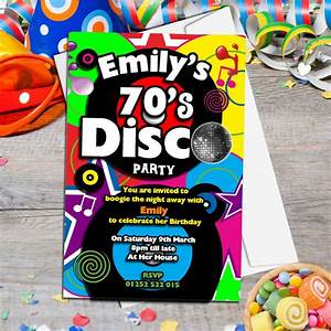 10 personalised 70 s disco birthday party invitations n130 for 70 s wedding invitations
