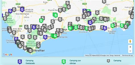 spain southern map andalucia camping campgrounds travel