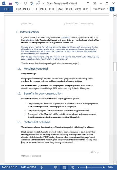 grant proposal template ms wordexcel templates forms