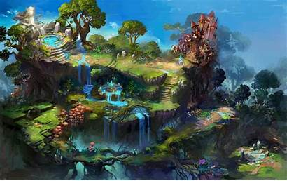 Fantasy Waterfall Fountain Desktop Wallpapers Backgrounds Mobile