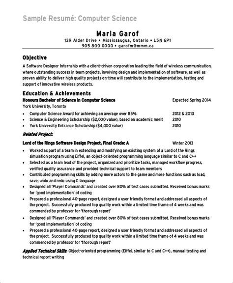 sle computer science resume 8 exles in word pdf
