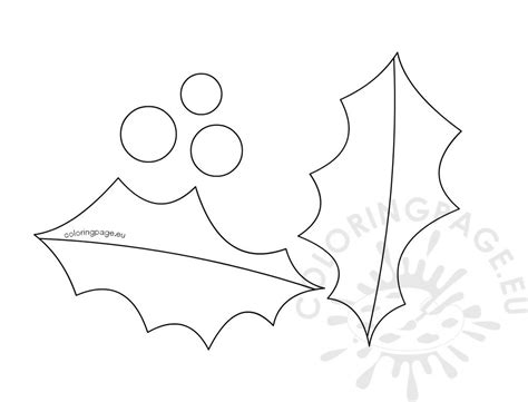 holly leaf berry outline template coloring page