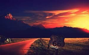 Wallpaper Route 66, Sunset, Mountains, Landscape, Road