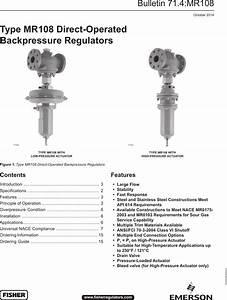 Emerson Type Mr108 Direct Operated Backpressure Regulators