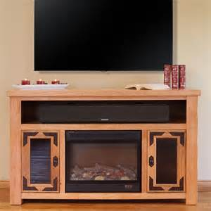 Rustic TV Stand with Electric Fireplace
