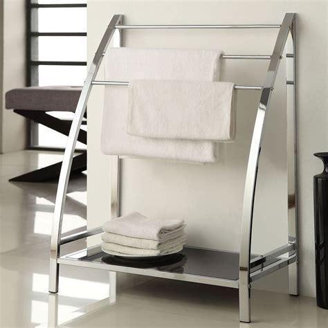 chrome finish towel bathroom rack stand glass shelf