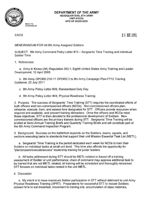 army additional duty memo template