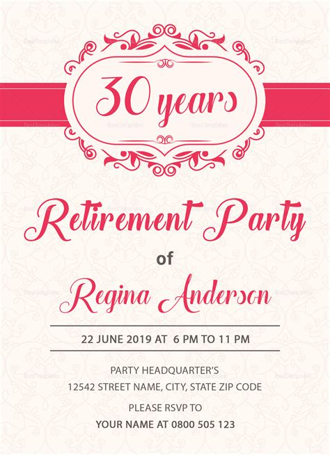 Sample Retirement Party Invitation Design Template in PSD