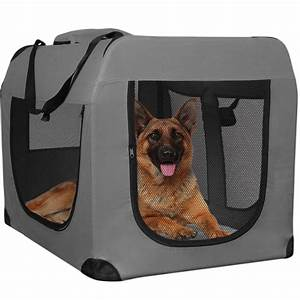 Dog crate soft sided pet carrier foldable training kennel for Soft sided collapsible dog kennel