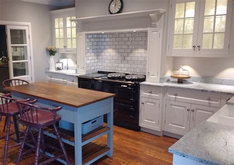 display hand painted  stained oak kitchen island