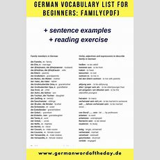 German Vocabulary List For Beginners With Articles Family(download Pdf