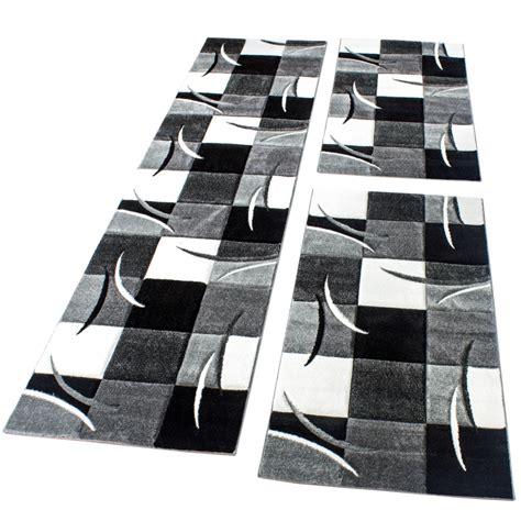 bettumrandung l 228 ufer teppich modern karo schwarz grau weiss l 228 uferset 3 tlg wohn und