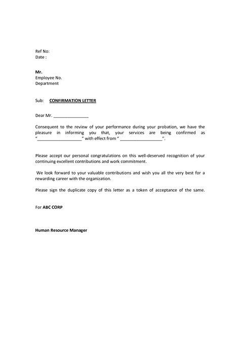 probation letter  employee sample