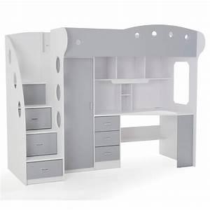 Ikea Lit 90x190 : lit combin avec bureau et rangement couchage 90x190 cm ~ Teatrodelosmanantiales.com Idées de Décoration