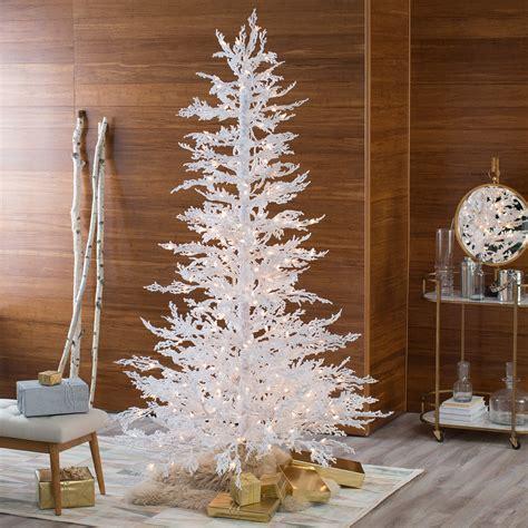 flocked white twig tree pre lit full christmas tree
