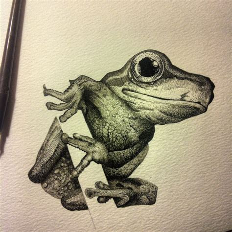 A Frog Clings To A Tree Branch Drawing In Pen And Ink