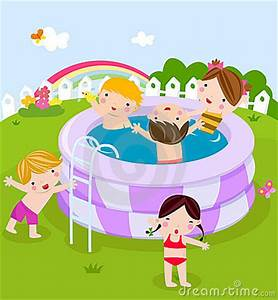 Plastic Swimming Pool With Kids Royalty Free Stock ...