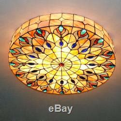 vintage tiffany style stained glass lamp shade flush mount