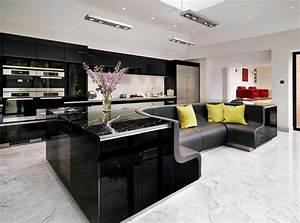 kitchen island with built in sofa upgrades stylish home With built black kitchen island in your modern home