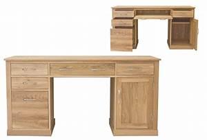 Baumhaus Mobel Oak Twin Pedestal Computer Desk Casamo