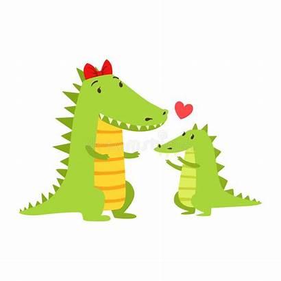 Crocodile Cartoon Mom Alligator Calf Animal Its