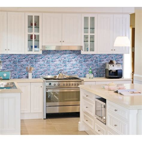 mosaic tiles backsplash kitchen grey marble blue glass mosaic tiles backsplash