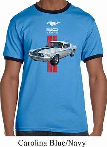 Mens Ford Shirt Red Stripe Mustang 50 Years Ringer Tee T-Shirt - Red Stripe Mustang 50 Years ...