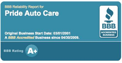 15660 Brakes Plus Littleton Coupons by Pride Auto Care Is Proud To Be An A Bbb Member
