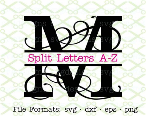 flourish split monogram svg cricut silhouette files svg dxf eps png monogramsvgcom  svg