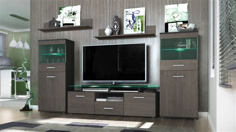 tv stand cabinet with led lights high gloss floating wall wall unit living room furniture almada black high gloss