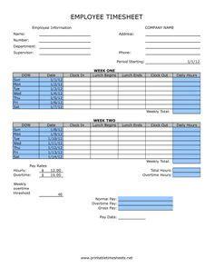 printable timesheet templates timesheet template