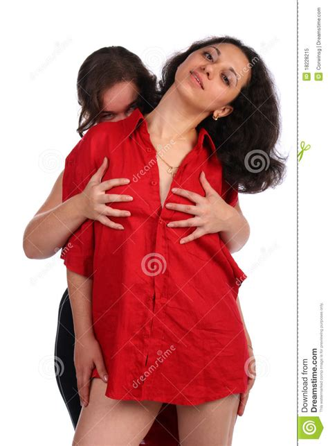 One Girl Embrace Other One From Behind Royalty Free Stock