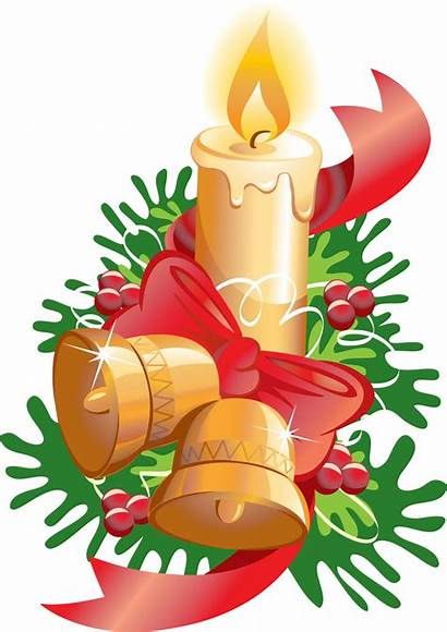 Candle Christmas Ribbon Candles Bells Transparent Clipart