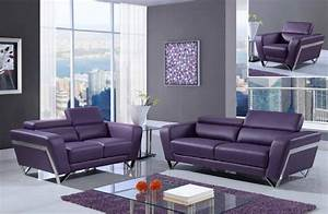 Ultra modern purple bonded leather sofa set with chrome legs for Modern purple sectional sofa
