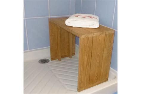 siege chaise haute banc teck massif pour salle de bains 60 cm la galerie du