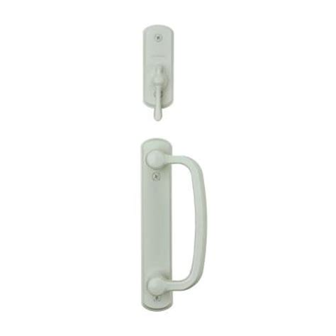 albany 2 panel gliding patio door hardware set in white