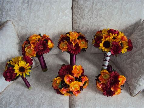 silk yellow sunflowers silk burgundy roses real touch