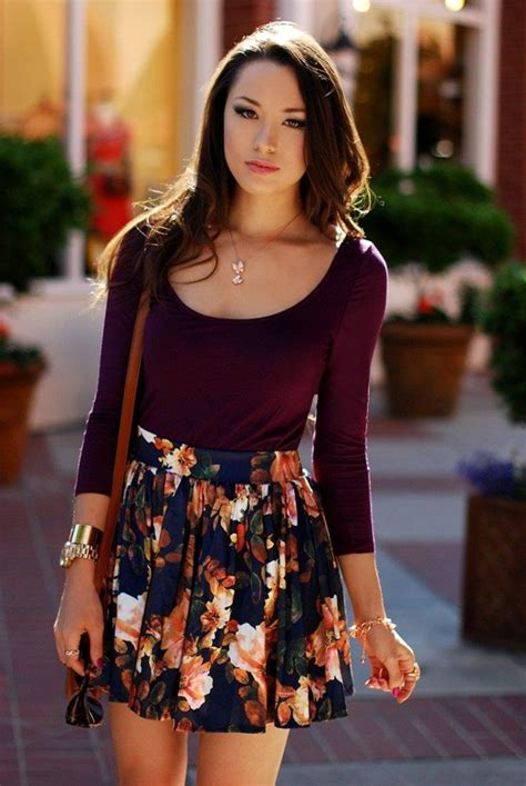 cute skater skirts outfits  ways  wear skater skirts