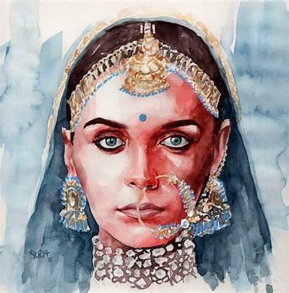 Watercolor Portrait Concept Handmade Lady Surya