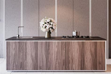 comptoir de cuisine quartz ou granit placage de bois armoires
