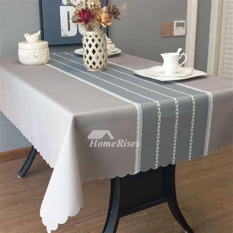 designer oblong tablecloth tealgreyblue fabric vintage