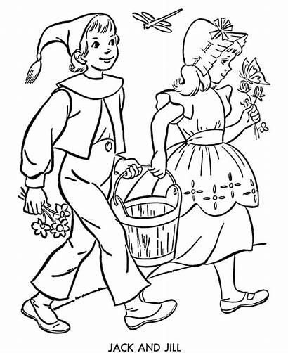 Jill Jack Nursery Coloring Rhymes Pages Bluebonkers